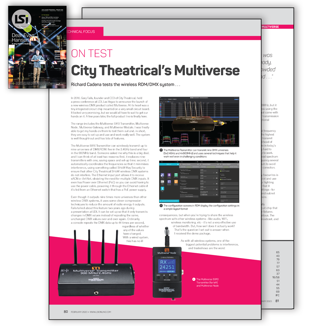 Multiverse Tech Review in Lighting & Sound International February 2020