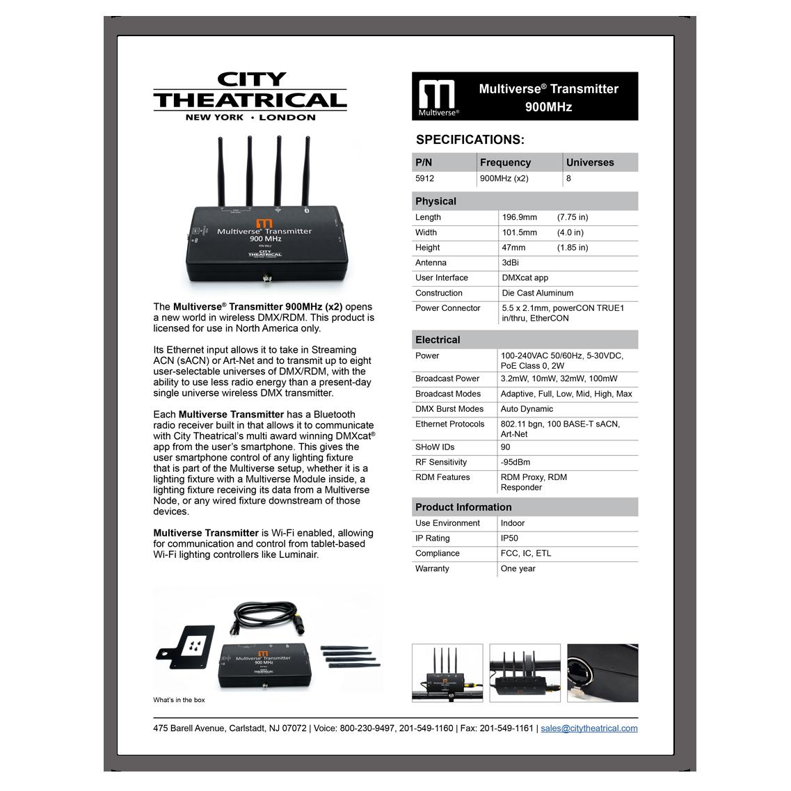 Multiverse Transmitter 900MHz (P/N 5912)