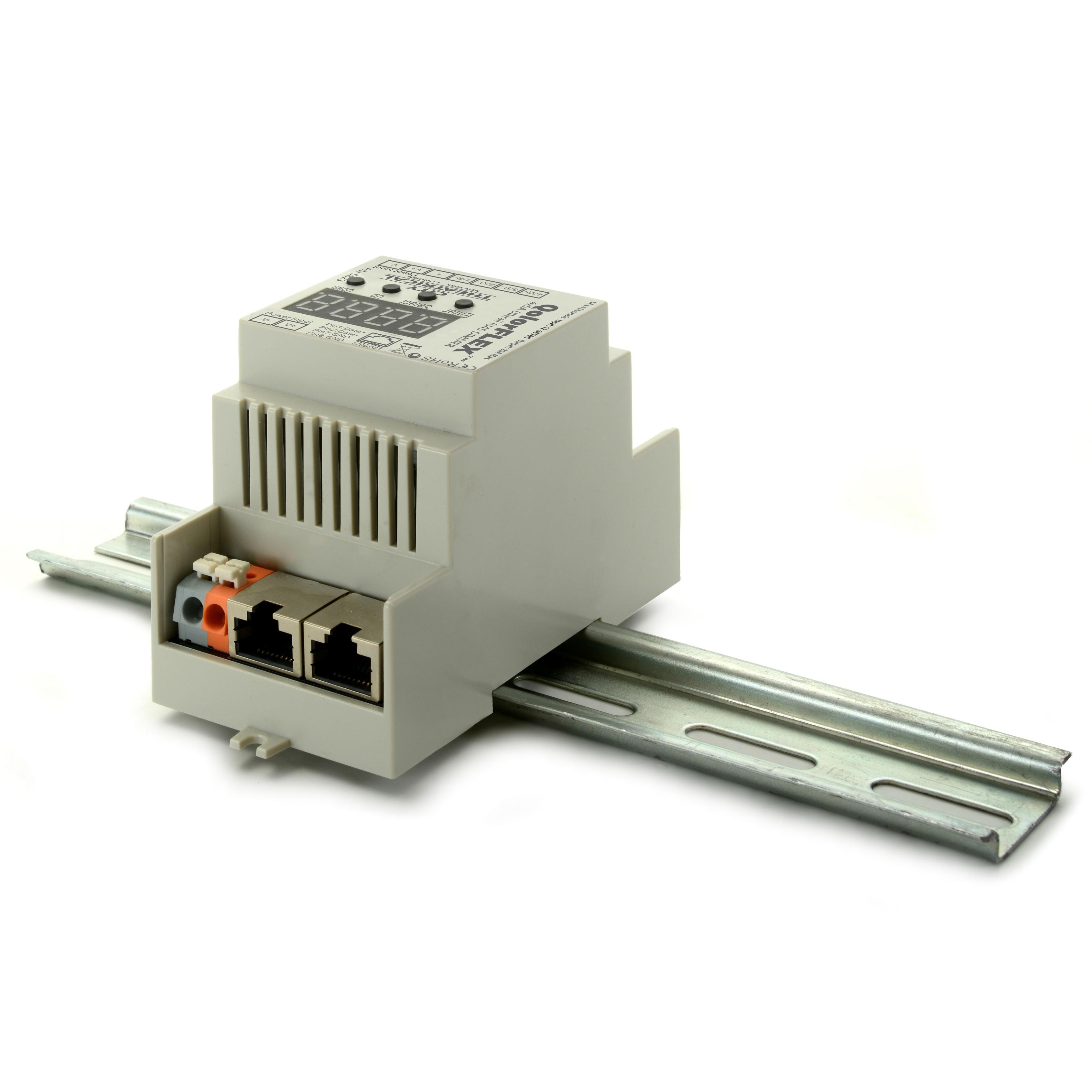 Qolorflex 4x5a Dinrail Rj45 Dimmer 4 Way Switch Box