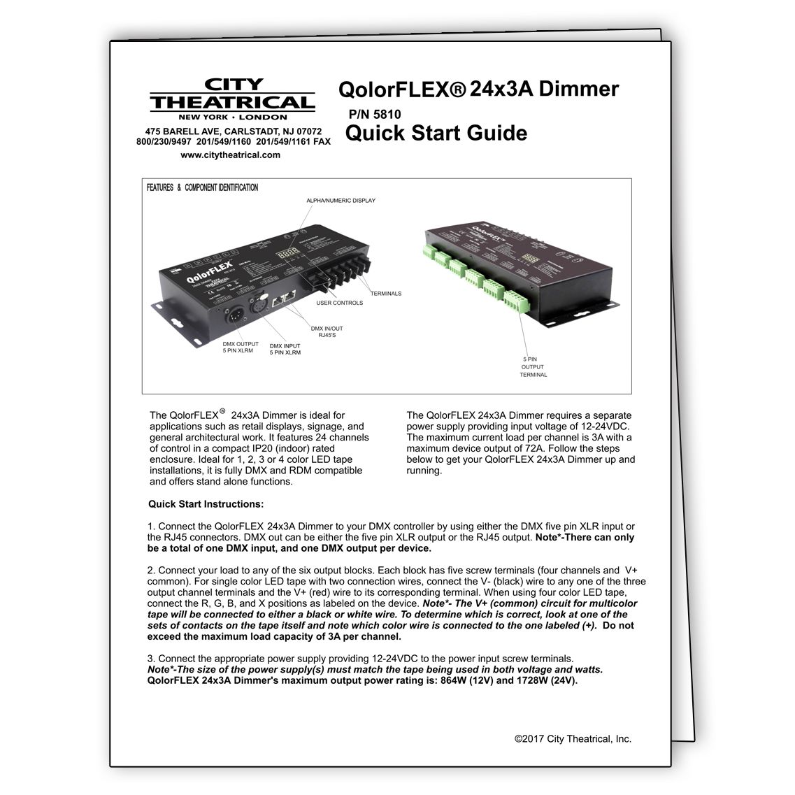 QolorFLEX 24x3A Dimmer Quick Start Guide