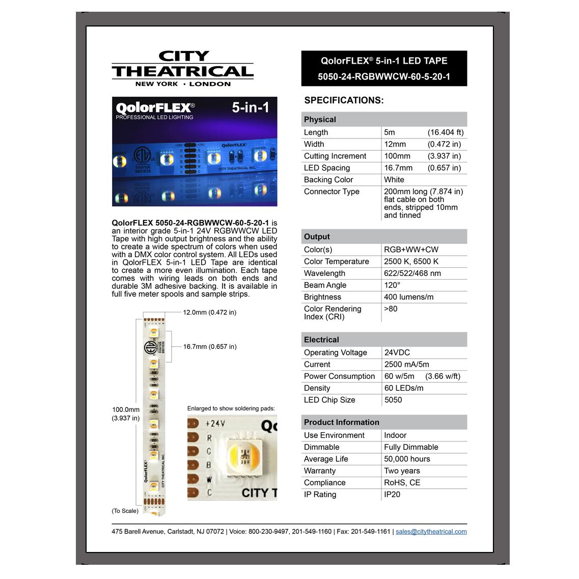 QolorFLEX-5-in-1 LED Tape Cut Sheet