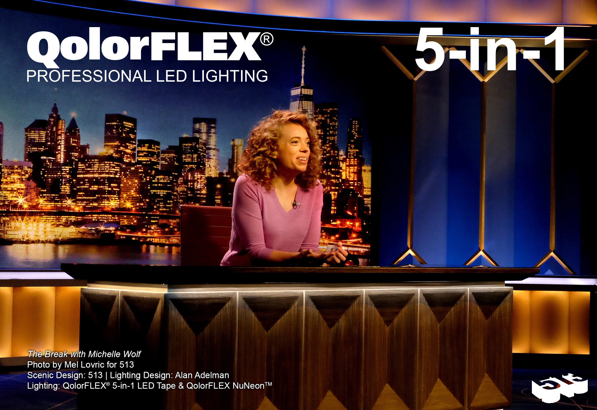 QolorFLEX 5-in-1 LED Tape on The Break with Michelle Wolf, desk