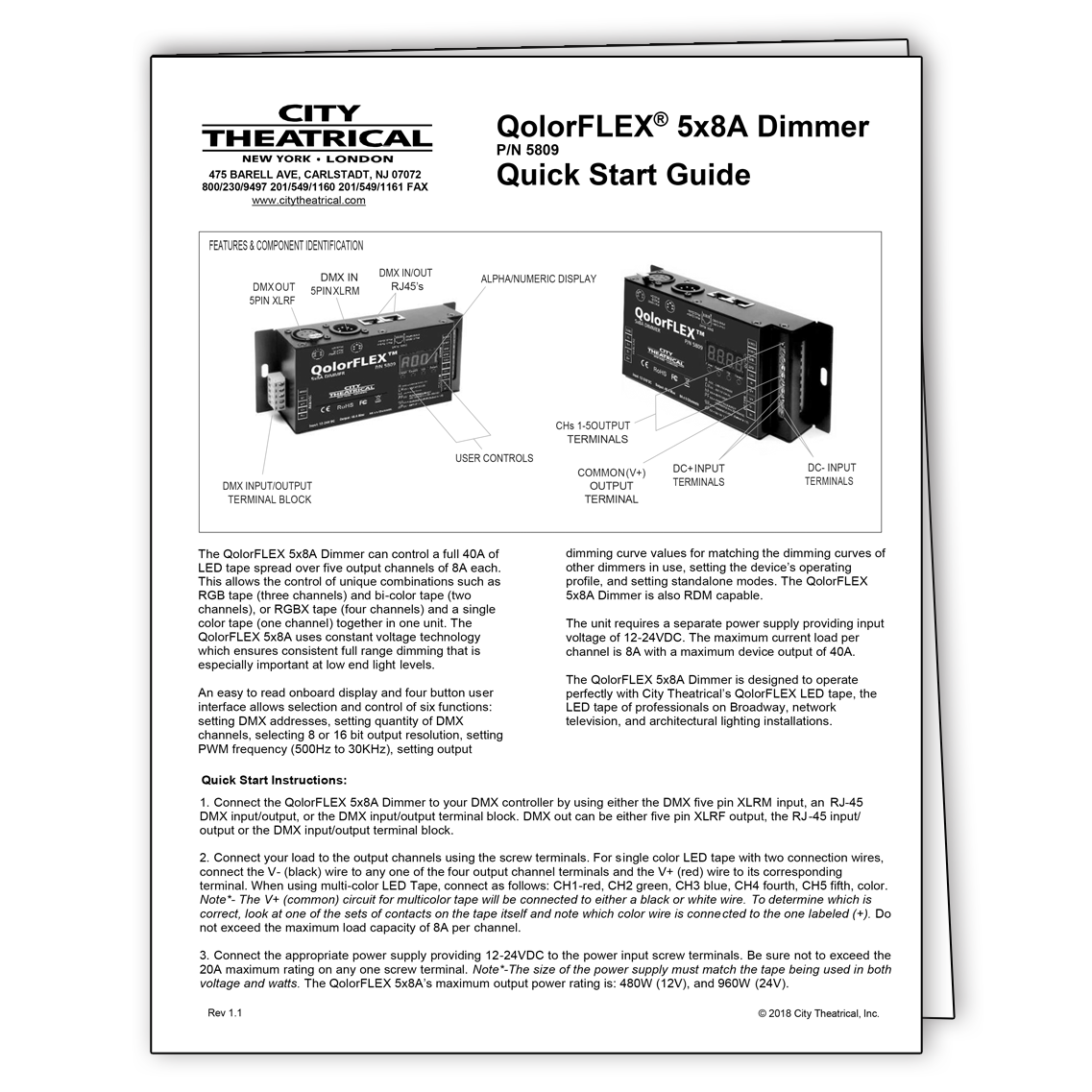 QolorFLEX 5x8A Dimmer Quick Start Guide