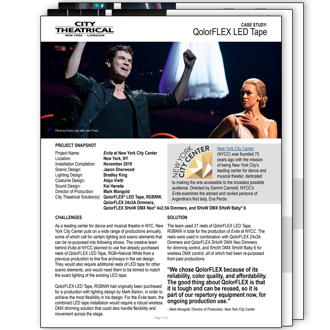 QolorFLEX Case Study: Evita at New York City Center