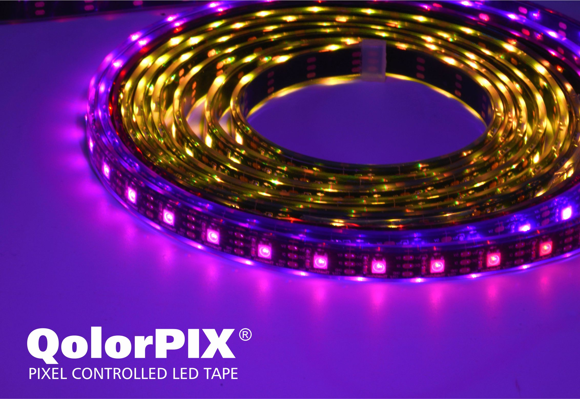 QolorPIX Pixel Controlled LED Tape chase effect