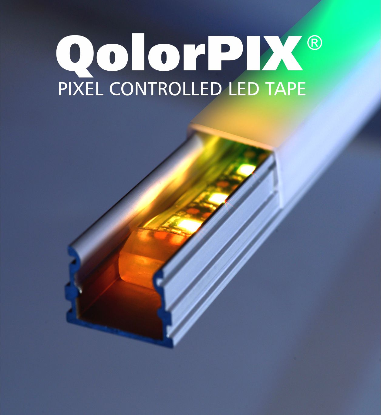 QolorPIX Pixel Controlled LED Tape in an extrusion with diffusor