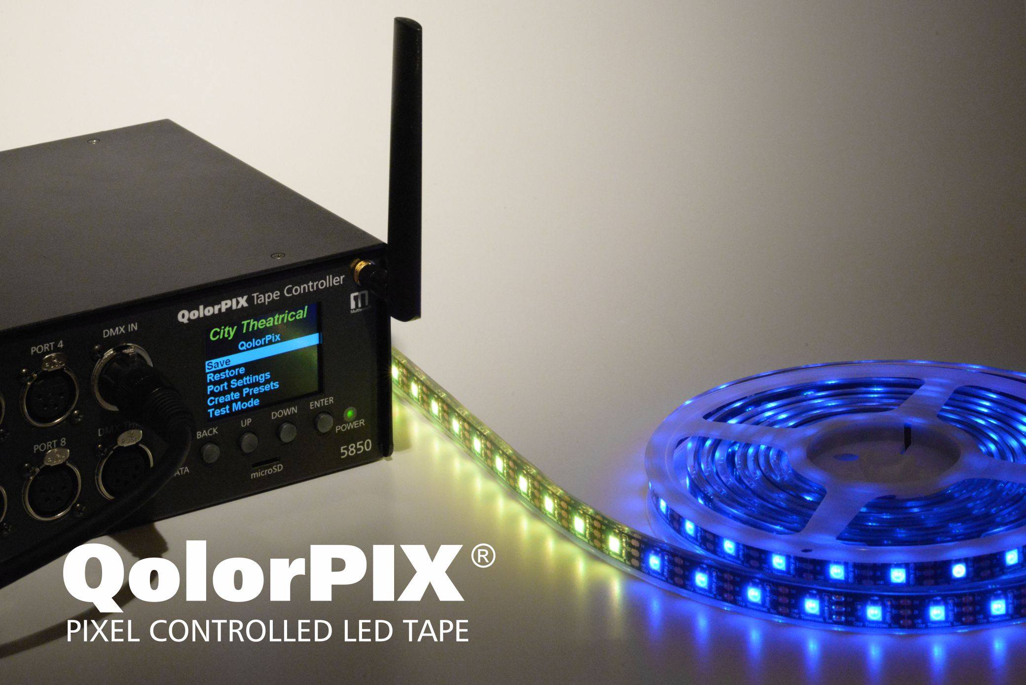 QolorPIX Tape Controller and QolorPIX Pixel Controlled LED Tape