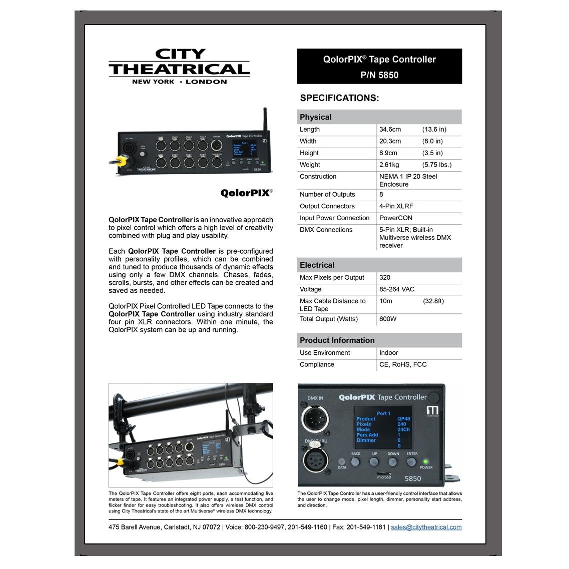 QolorPIX Tape Controller Cut Sheet