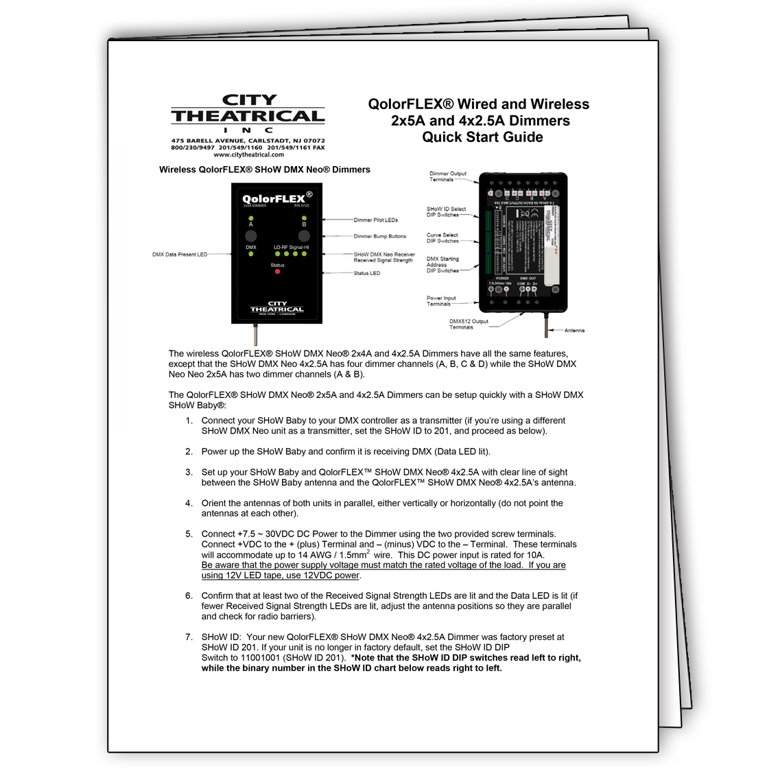 Quick Start Guide for QolorFLEX 2x5A and 4x2-5A Wired and Wireless Dimmers