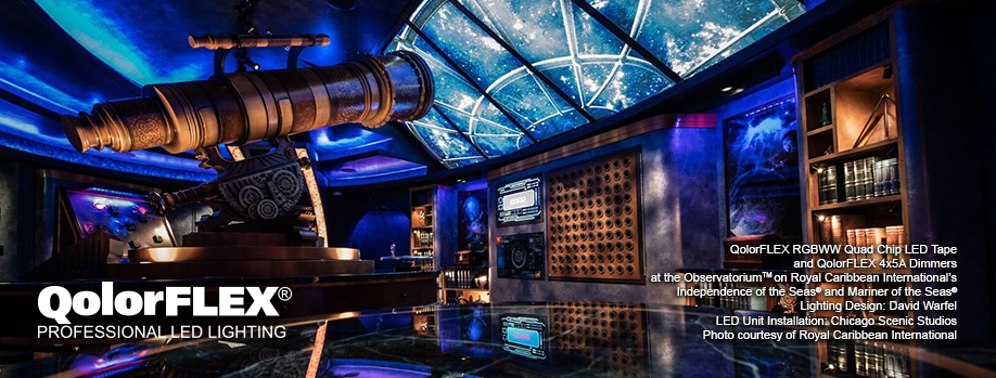 QolorFLEX Case Study: Quad Chip LED Tape and Dimmers at Royal Caribbean's Observatorium
