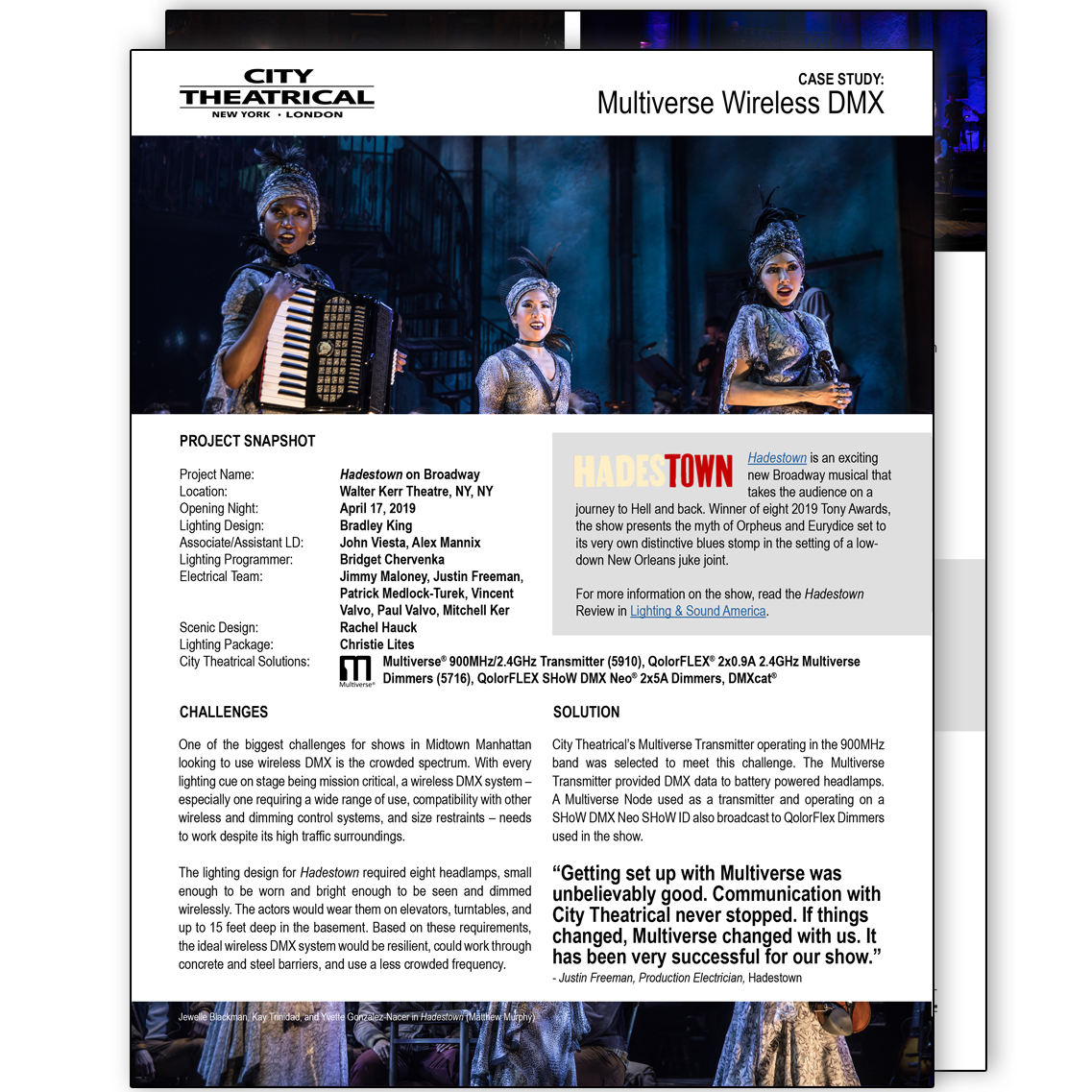 Case Study: Multiverse Wireless DMX at Hadestown on Broadway