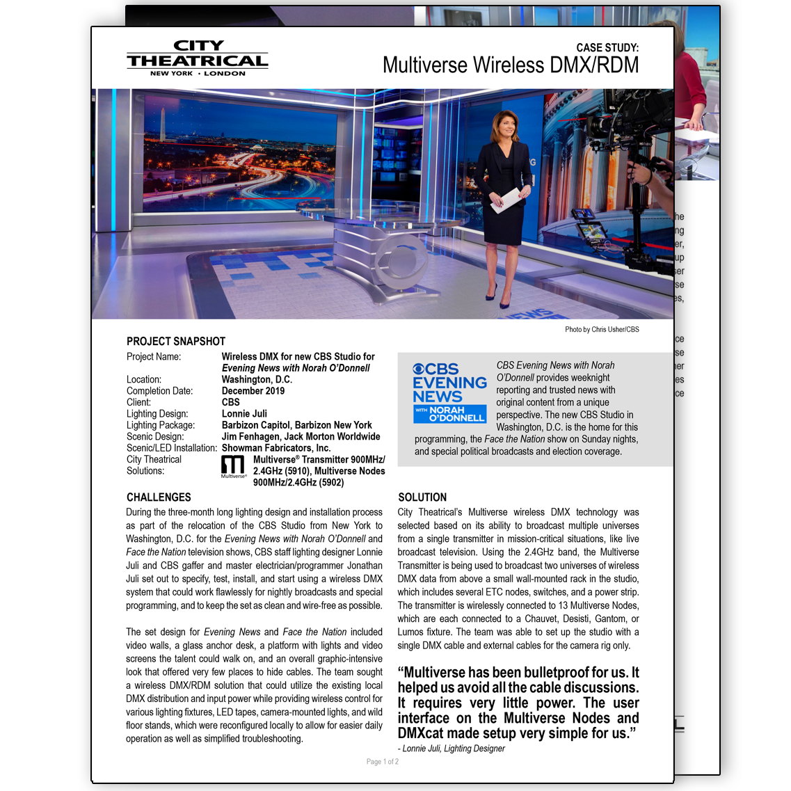 City Theatrical Case Study: Multiverse CBS Evening News with Norah O'Donnell