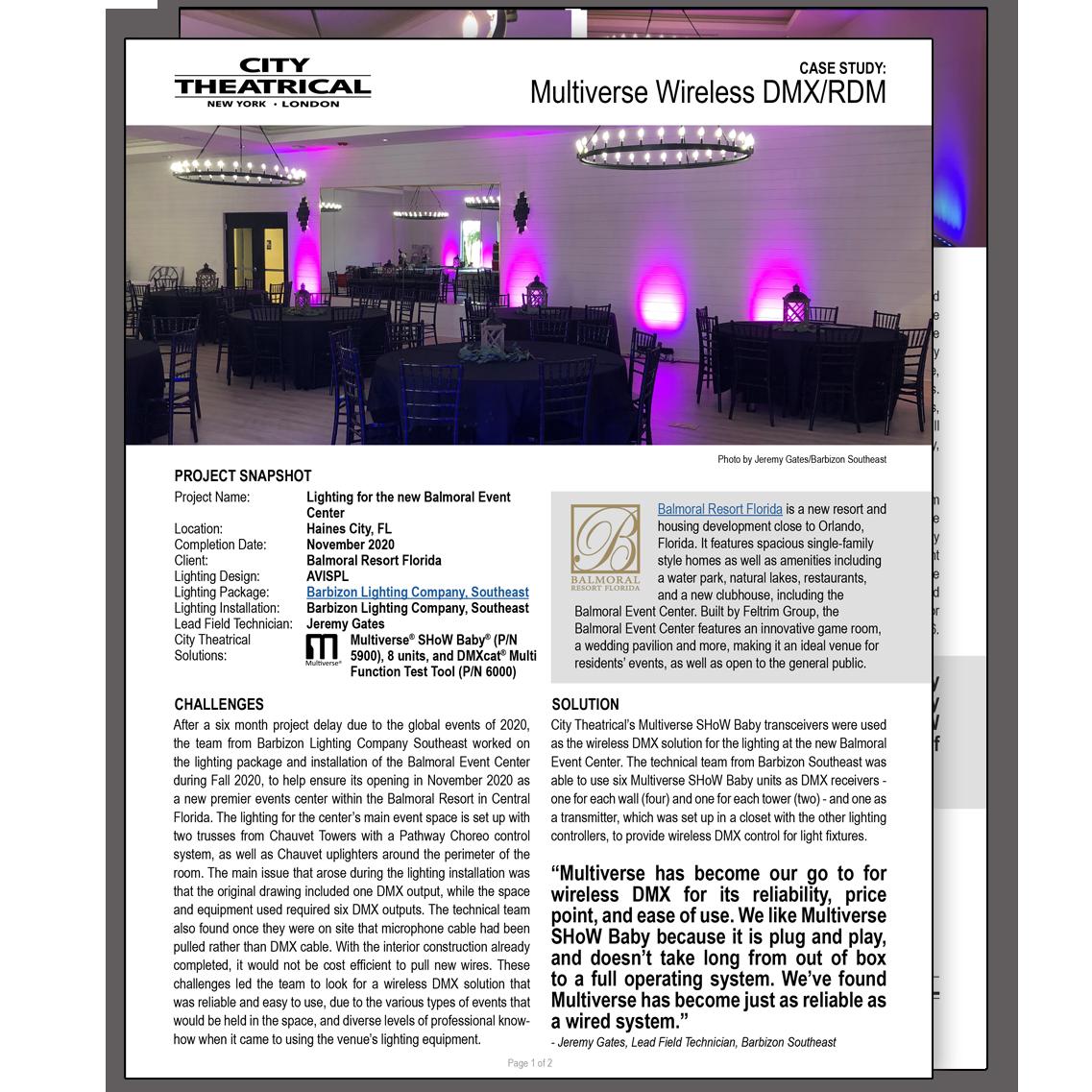 Multiverse SHoW Baby at Balmoral Resort Florida case study